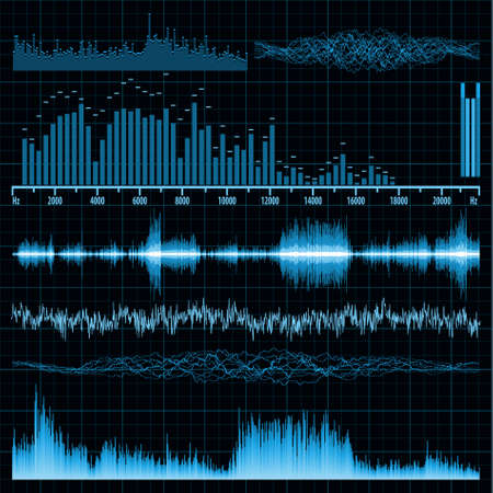 Sound waves set. Music background. Vector