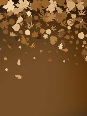 Brown autumnal design template. Vector