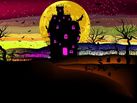 Grungy Halloween background with haunted house, bats and full moon. EPS 8 vector file included Stock Vector - 9910137