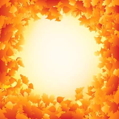 Orange autumn leaves frame design. EPS 8 vector file included Stock Vector - 9910143
