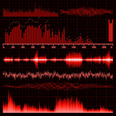 amplifiers: Sound waves set. Music background. EPS 8 vector file included Illustration