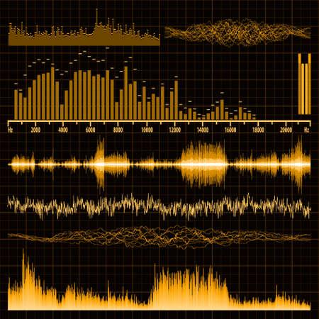 geluidsgolven: Geluidsgolven in te stellen. Muziek achtergrond. , EPS, 8 opgenomen Stock Illustratie