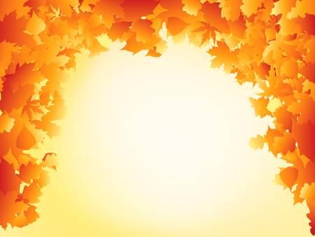 Orange autumn leaves frame design. EPS 8 vector file included Vector