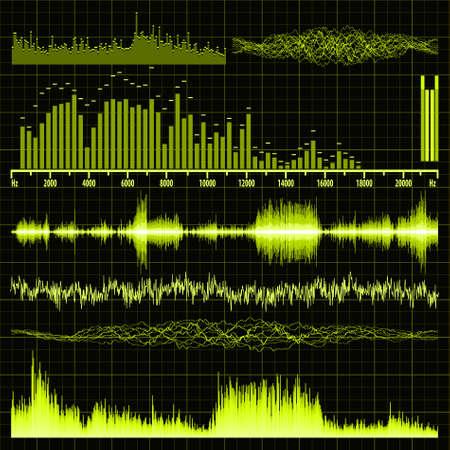 are sound: Conjunto de ondas de sonido. Fondo de la m�sica. Archivo de vectores 8 EPS incluido