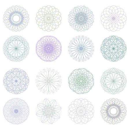 rosette: Roseta labrado, patr�n de vector de moneda, certificados o diplomas. Archivo de vectores 8 EPS incluido