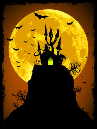 horrors: Scary halloween vector with magical abbey. EPS 8 vector file included  Illustration