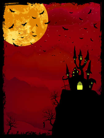 horror house: Composici�n de Halloween Spooky con casa de horror y atributos de fiesta popular. Archivo de vectores 8 EPS incluido Vectores
