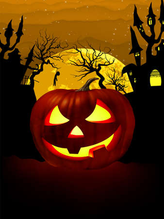 halloween house: Pumpkin Halloween Card with hanged man, old house and moon. EPS 8 vector file included
