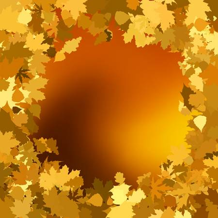 Gold autumn background with leaves. EPS 8 vector file included Vector