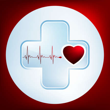 urgent care: Heart and heartbeat symbol. Easy Editable Template. Without a transparency. EPS 8 vector file included