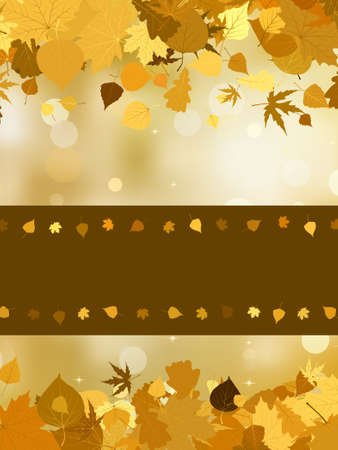 Autumn background with colored leaves on bokeh effect. EPS 8 vector file included Vector