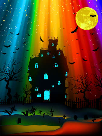 gravestone: Halloween image with old mansion. EPS 8 vector file included