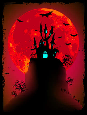 Scary halloween vector with magical abbey. EPS 8 vector file included Stock Vector - 9935090