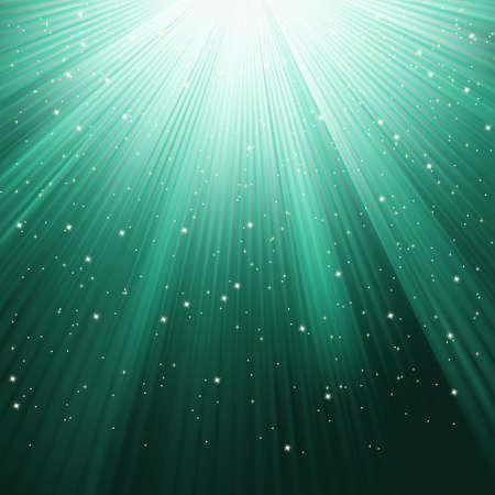 star burst christmas: Snowflakes and stars descending on green light.