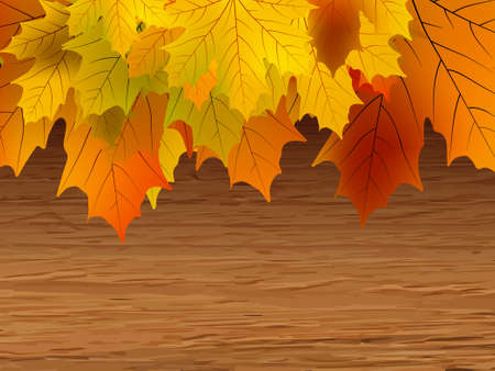 Fall coloured leaves making a border on a wooden background.