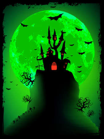 fairytale background: Scary halloween with magical abbey.  Illustration