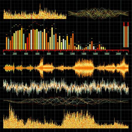 graphic equalizer: Sound waves set. Music background.