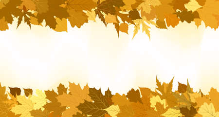 Golden autumn border made from leaves, background.  Vector