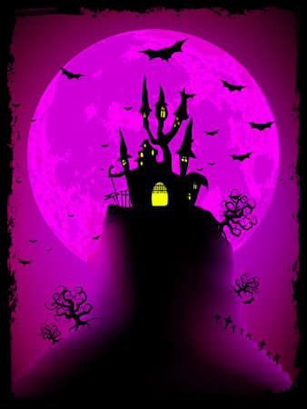 dismay: Scary halloween with magical abbey.  Illustration