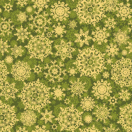 christmas seamless pattern: Green christmas pattern with snowflakes.  Illustration