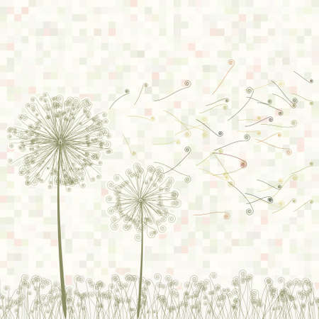 Retro greeting card with flowers and dandelion  Vector