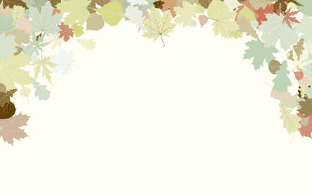 Background with frame with Autumn Leafs. Thanksgiving.  Vector