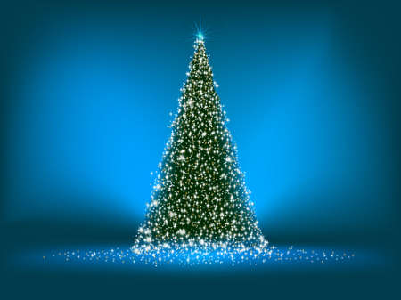 Abstract green christmas tree on blue background. EPS 8 vector file included Illustration
