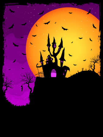 Haunted House on a Graveyard hill at night with full moon Vector