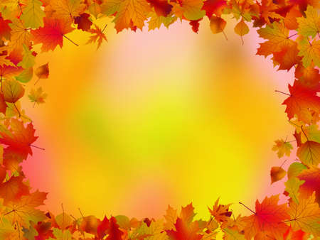 Autumn leaves border for your text. Vector