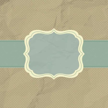Polka dot design, brown vintage frame. Vector
