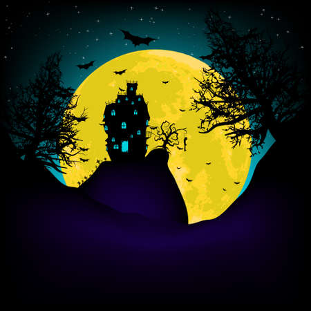 titreme: Vector Haunted House on a Graveyard hill at night with full moon. EPS 8 vector file included