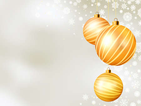 Light Christmas backdrop with five balls. Vector