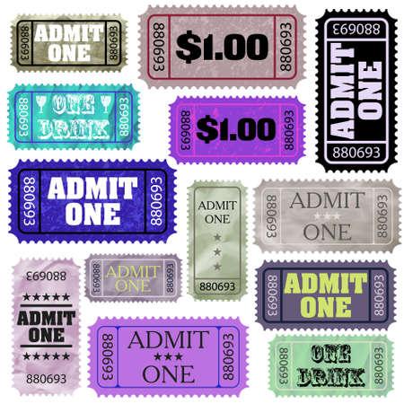 raffle ticket: Set of ticket admit one. Illustration