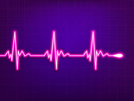 heartbeat: Heart cardiogram with shadow on deep violet.