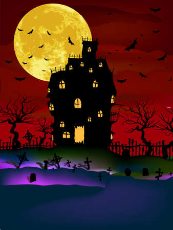 Vector Haunted House on a Graveyard hill at night with full moon. EPS 8 vector file included Stock Vector - 10473705