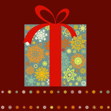 Christmas present box made from multicolor snowflakes. EPS 8 vector file included Stock Vector - 10473721