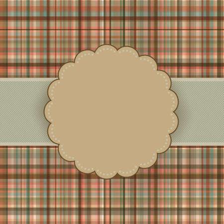Wallace tartan vintage card background. Vector