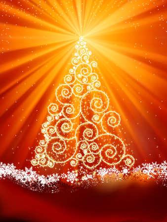 goldy: Plantilla de a�o nuevo con estrellas, copos de nieve y �rboles de Navidad. Archivo de vectoriales EPS 8 incluido  Vectores