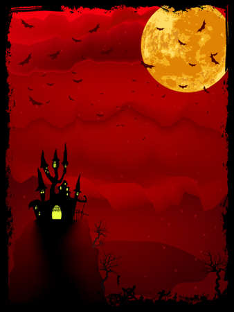 Halloween time spooky illustration with place for text. Stock Vector - 10600788