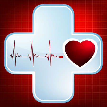emergency light: Heart and heartbeat symbol. Easy Editable Template. Without a transparency.  Illustration