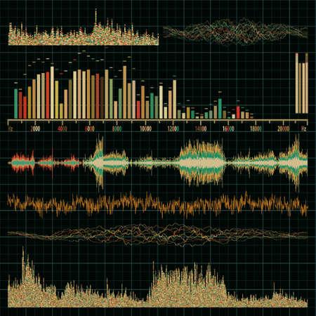 geluidsgolven: Geluidsgolven in te stellen. Muziek achtergrond. , EPS, 8 opgenomen Stockfoto