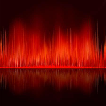wavelength: Ondas de sonido oscilante sobre fondo negro. Archivo de vectoriales EPS 8 incluido Vectores