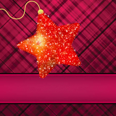 Ñ,hristmas stars on red background.