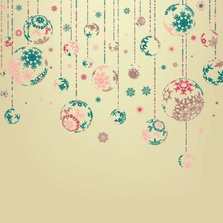 Beige background with christmas balls.  Vector