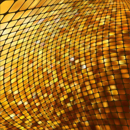 colourful fire: Abstract gold colored mosaic background. Illustration