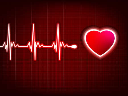 doctor examine: Heart cardiogram with shadow on it deep red.