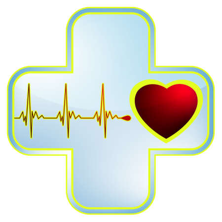Heart and heartbeat symbol. Easy Editable Template. Without a transparency. Stock Vector - 10687366