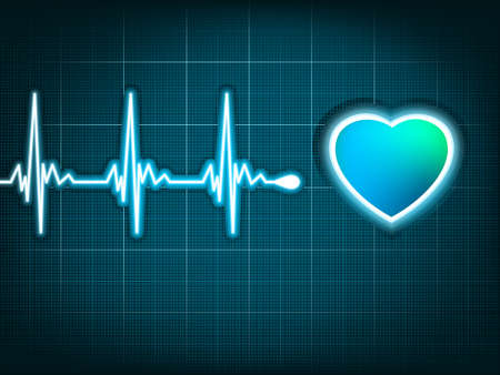 ekg: Illustration depicting a graph from a heart beat and a heart.  Illustration
