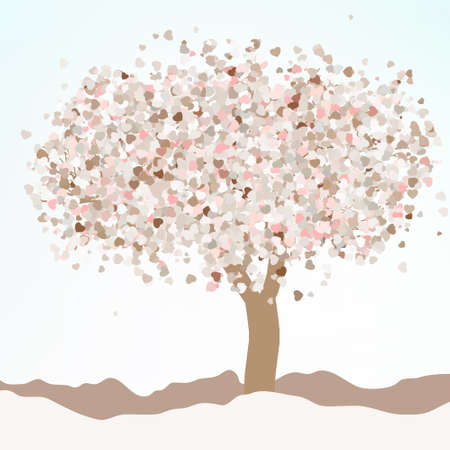 love tree: Floral greeting card.  Illustration