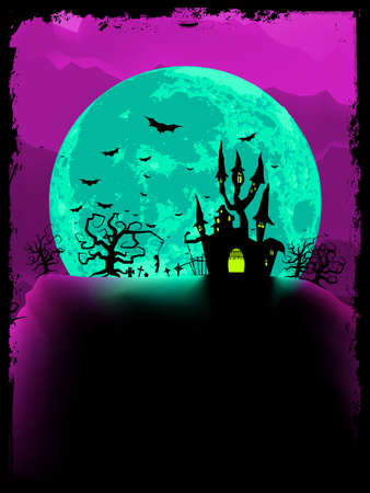 scary story: Scary halloween with magical abbey.  Illustration